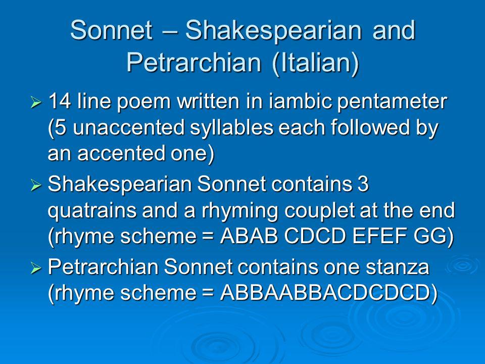 Sonnet – Shakespearian and Petrarchian (Italian)