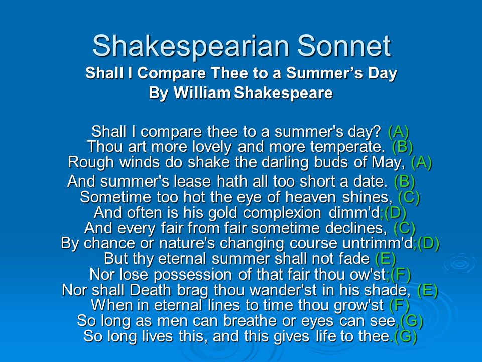 Shall I Compare Thee to a Summer's Day By William Shakespeare