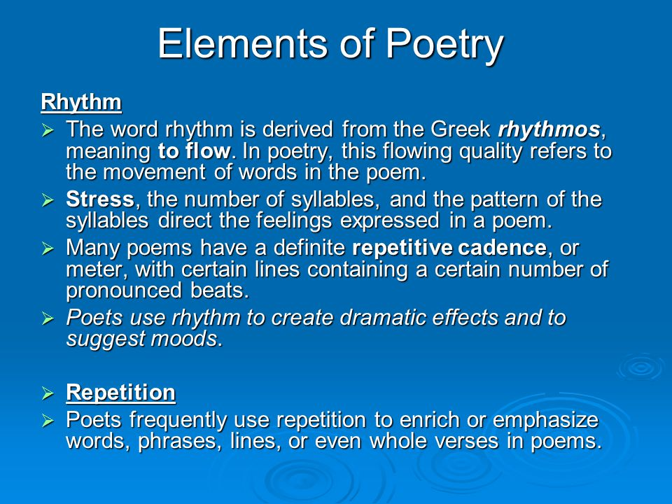 Elements of Poetry Rhythm