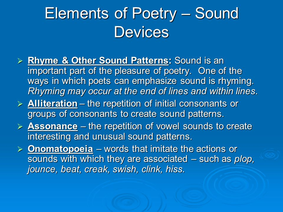 Elements of Poetry – Sound Devices