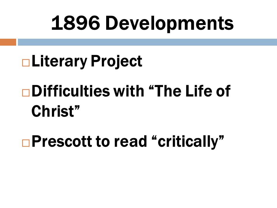 1896 Developments Literary Project