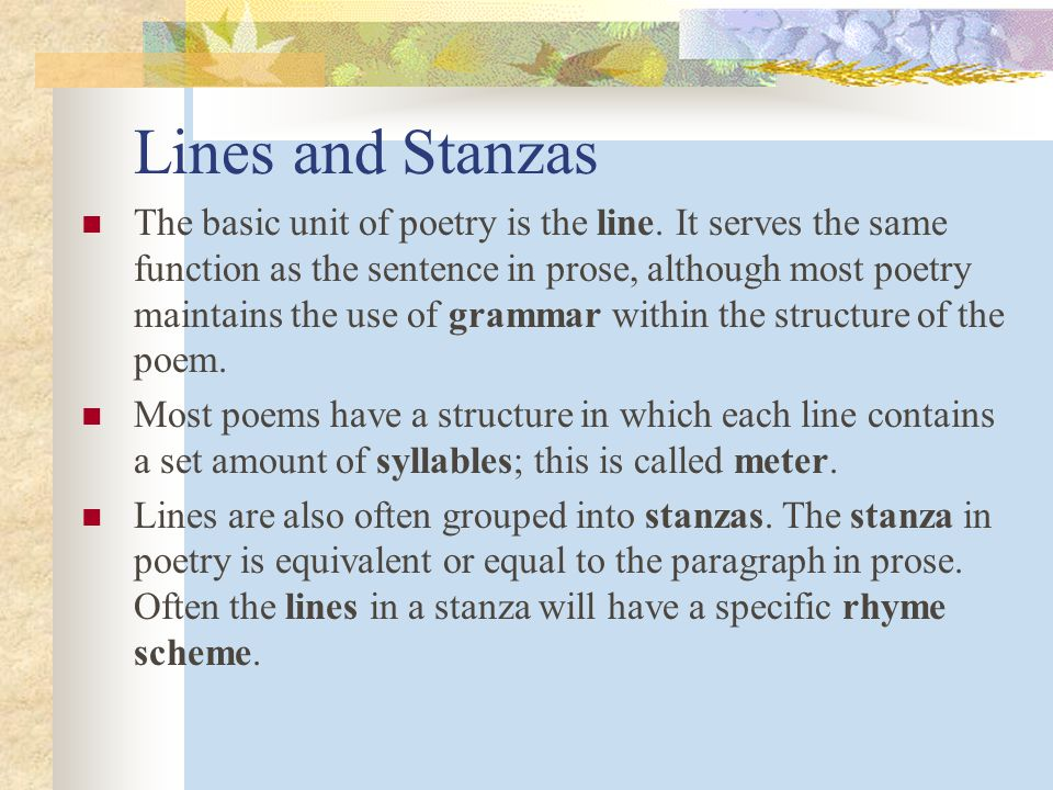 Lines and Stanzas