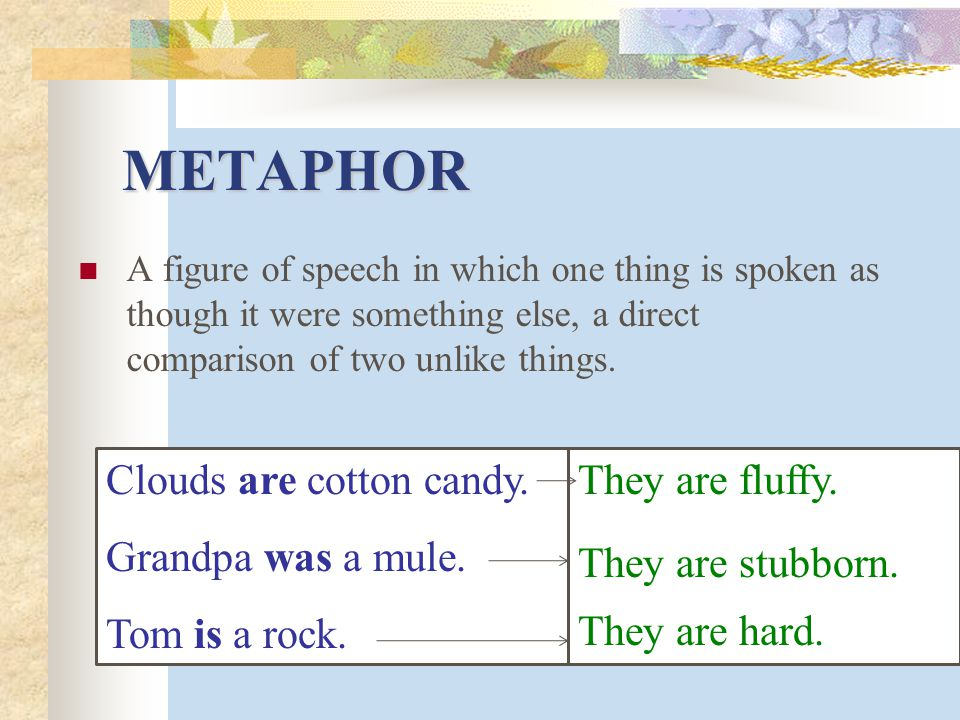 METAPHOR Clouds are cotton candy. Grandpa was a mule. Tom is a rock.