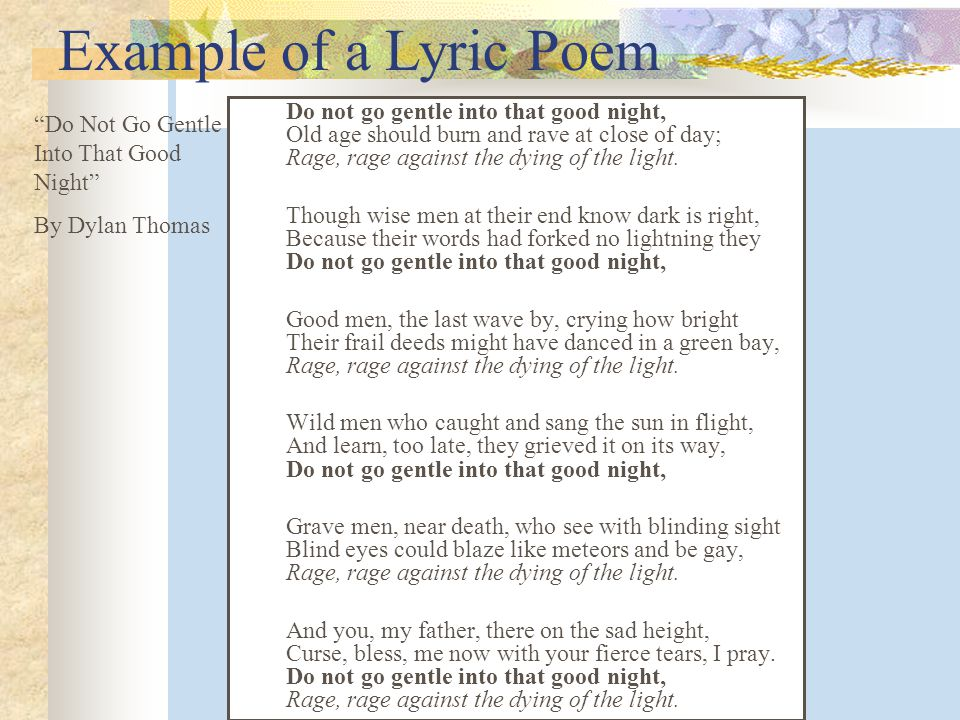 Example of a Lyric Poem