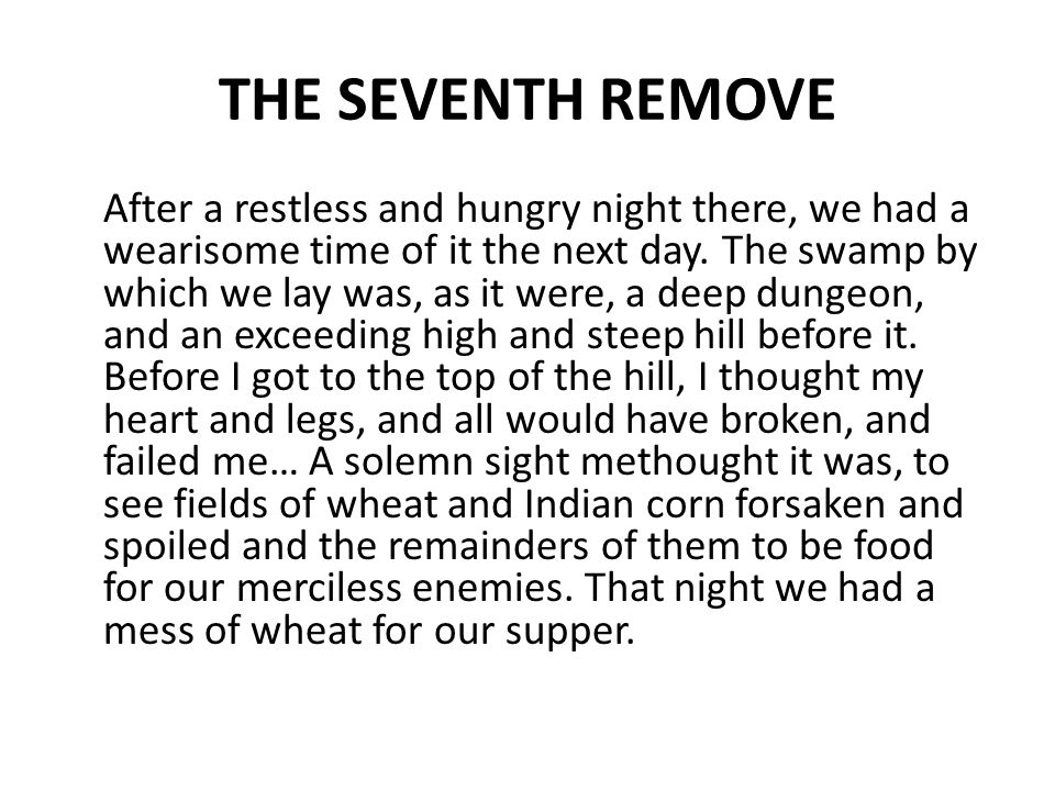 THE SEVENTH REMOVE