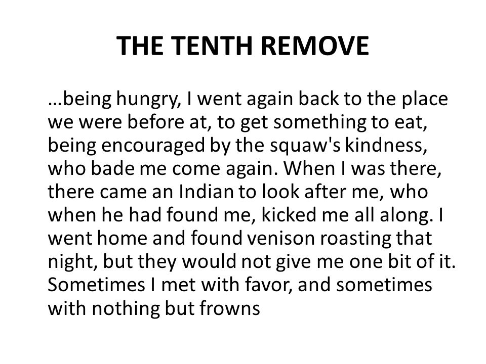 THE TENTH REMOVE