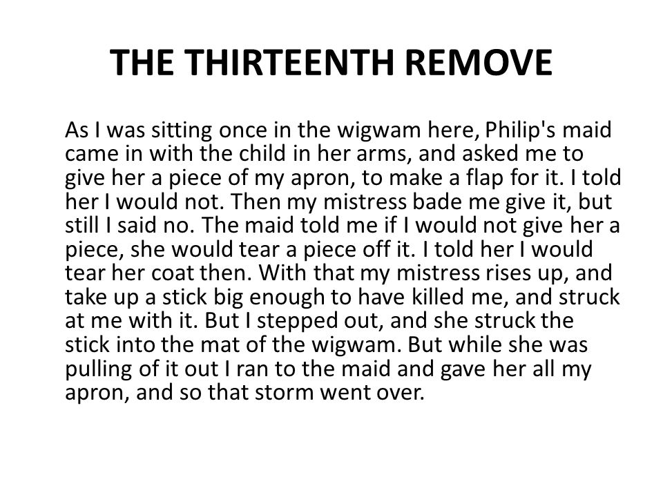 THE THIRTEENTH REMOVE