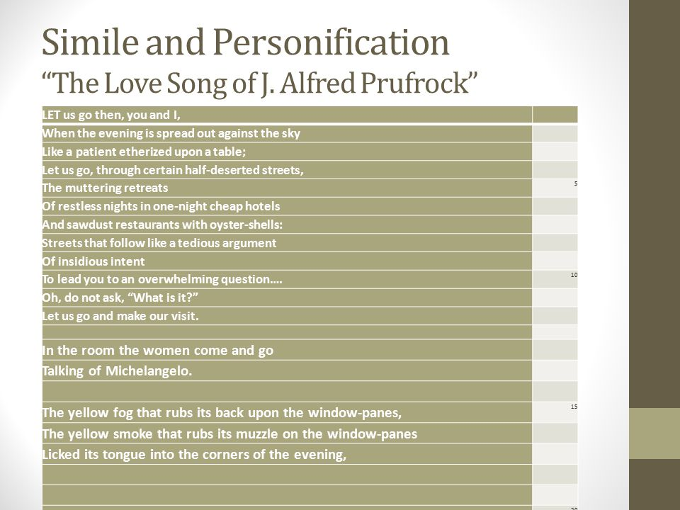Simile and Personification The Love Song of J. Alfred Prufrock