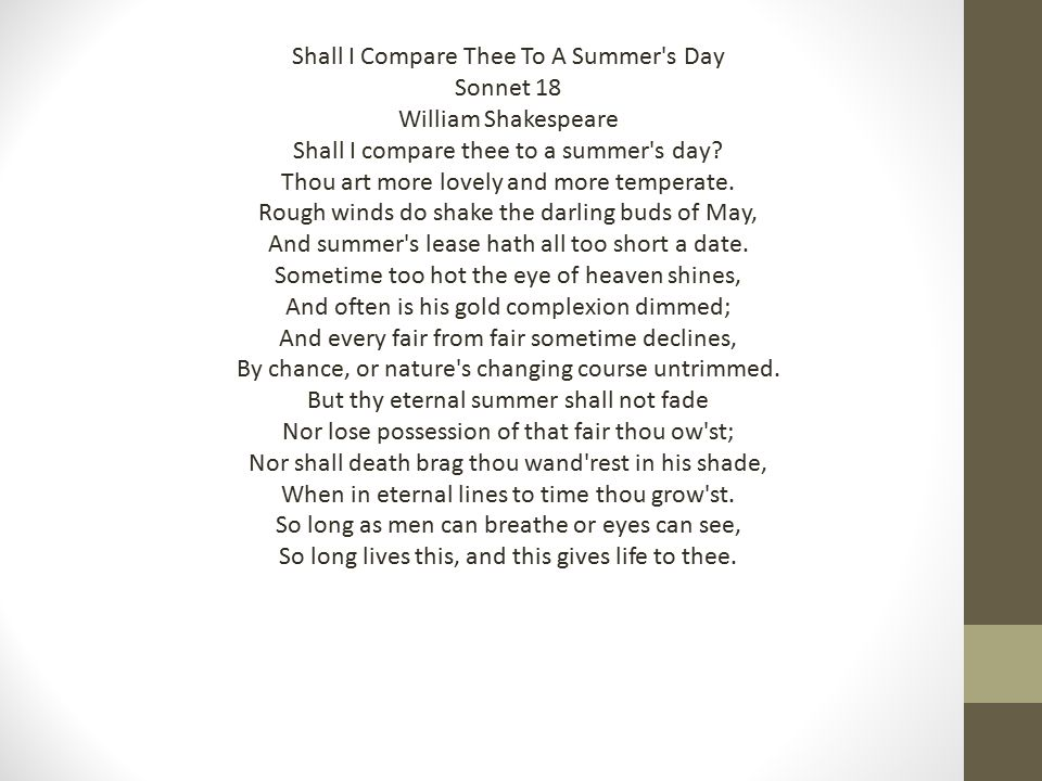 Shall I Compare Thee To A Summer s Day Sonnet 18 William Shakespeare