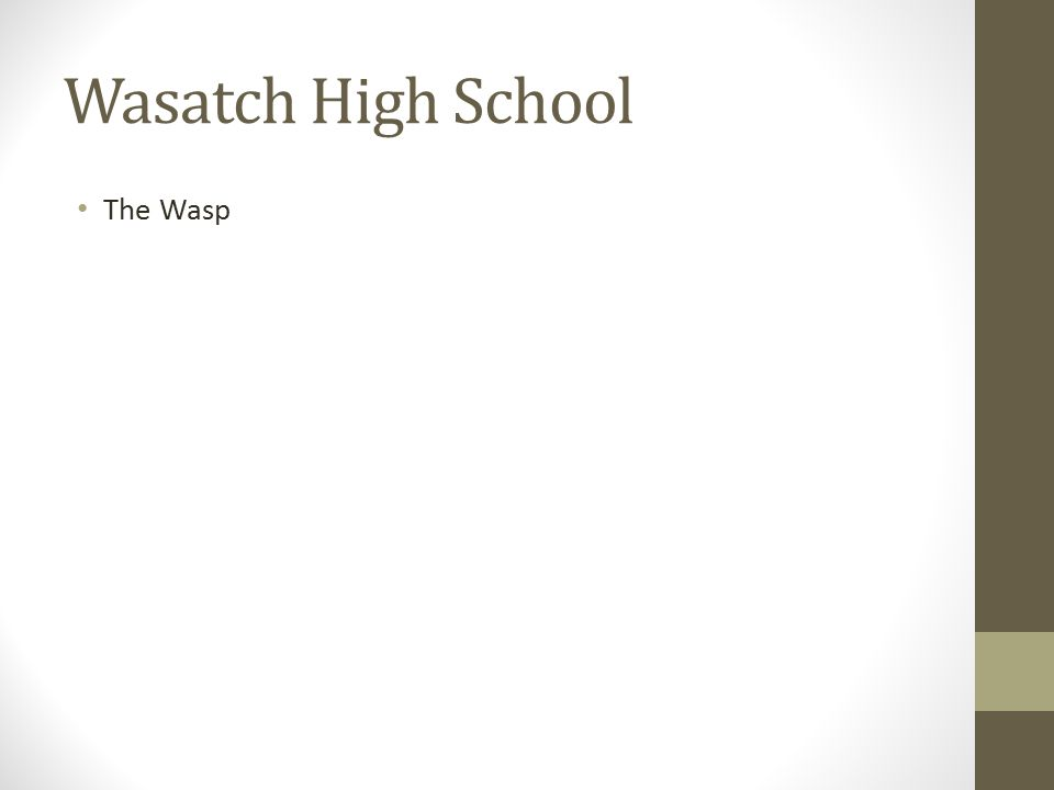 Wasatch High School The Wasp