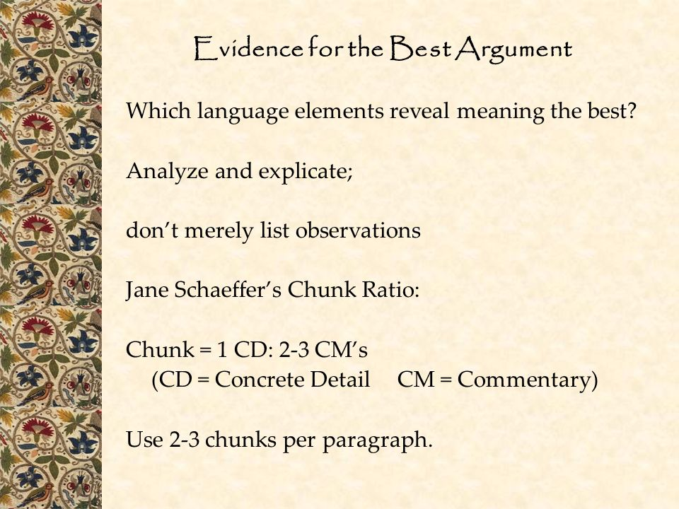 Evidence for the Best Argument