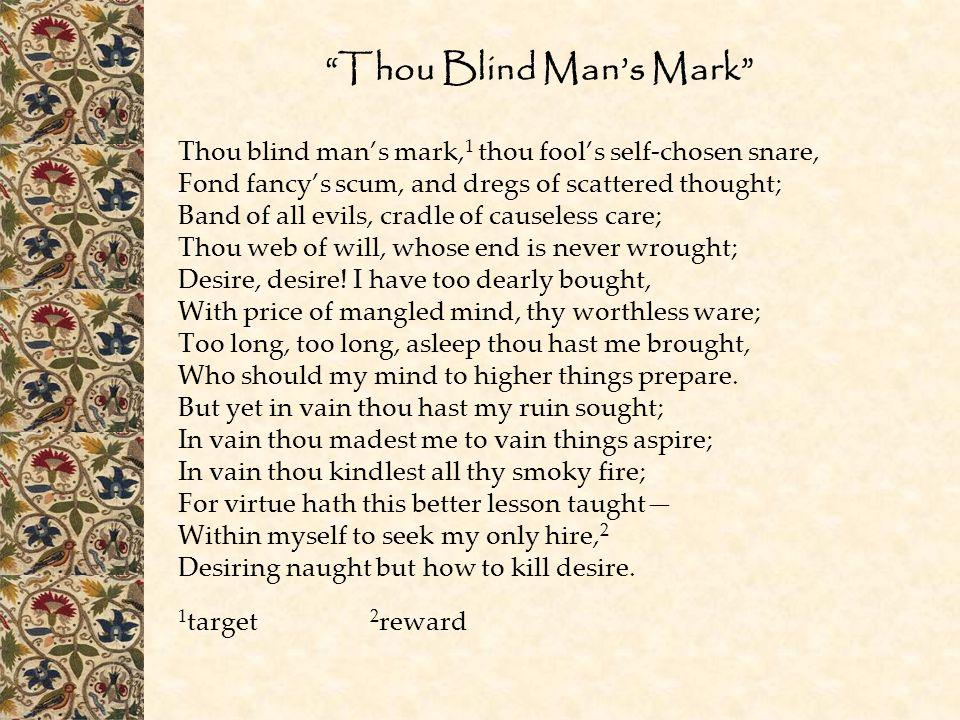 Thou Blind Man's Mark