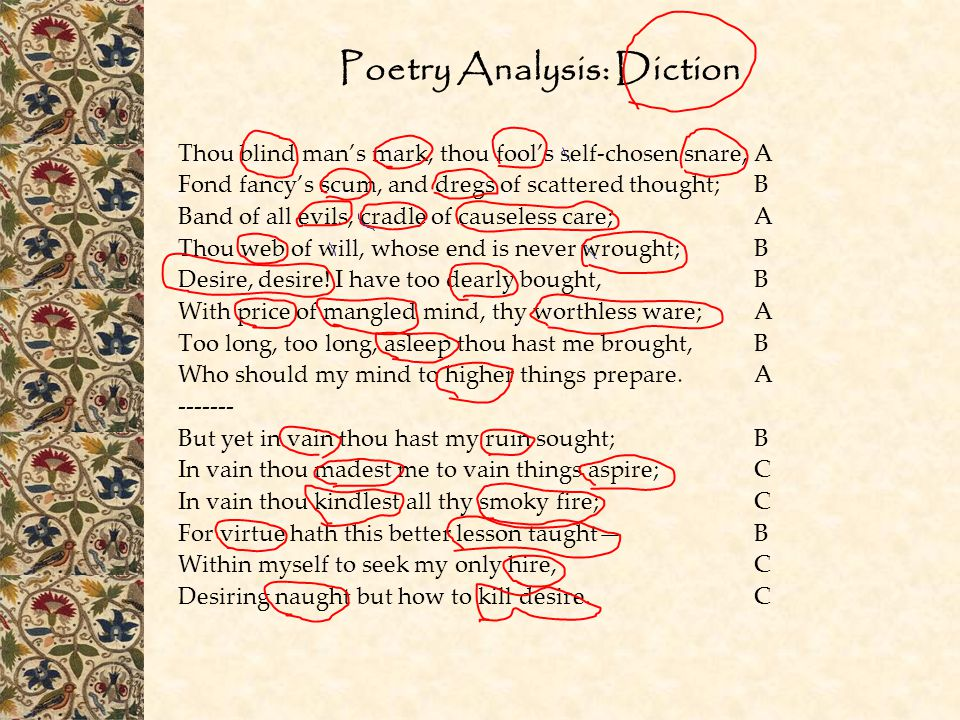 Poetry Analysis: Diction