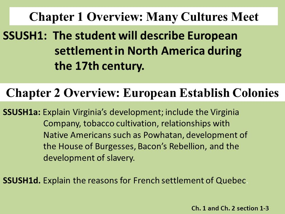 Chapter 1 Overview: Many Cultures Meet