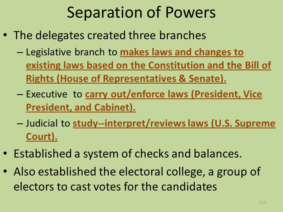 Separation of Powers The delegates created three branches