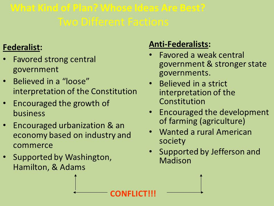 What Kind of Plan Whose Ideas Are Best Two Different Factions