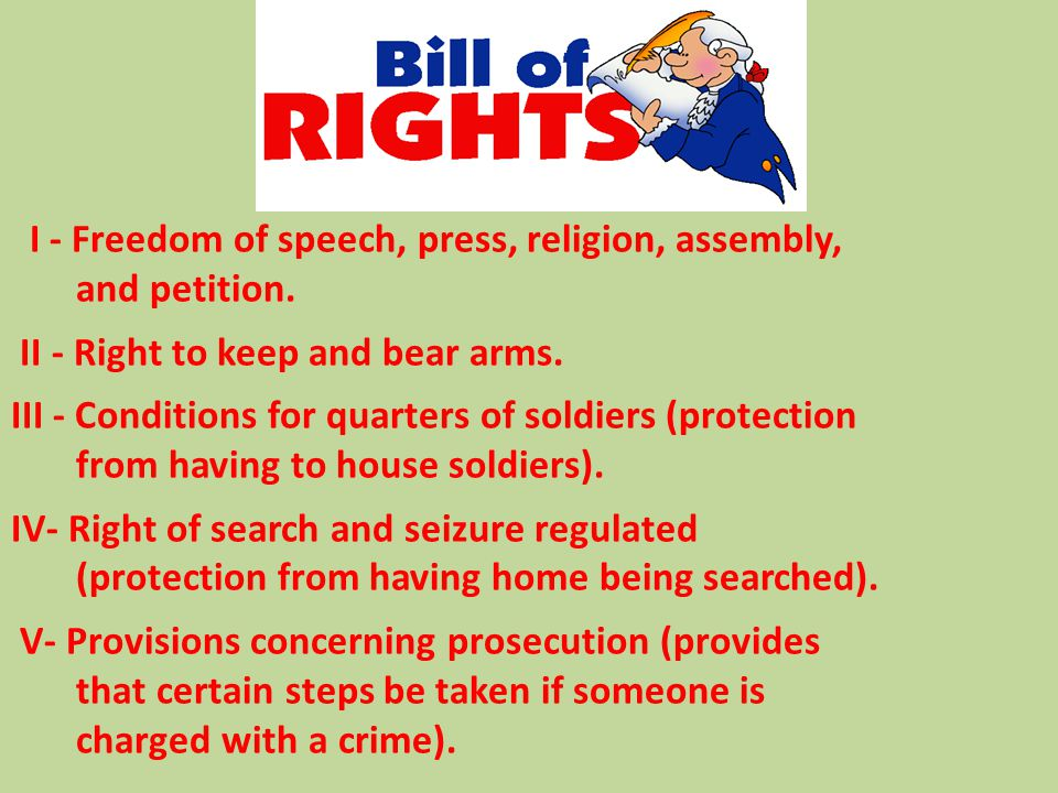 I - Freedom of speech, press, religion, assembly, and petition