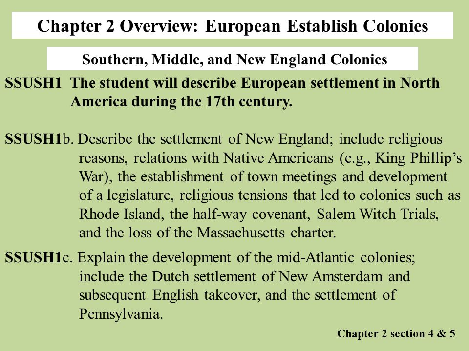 Chapter 2 Overview: European Establish Colonies