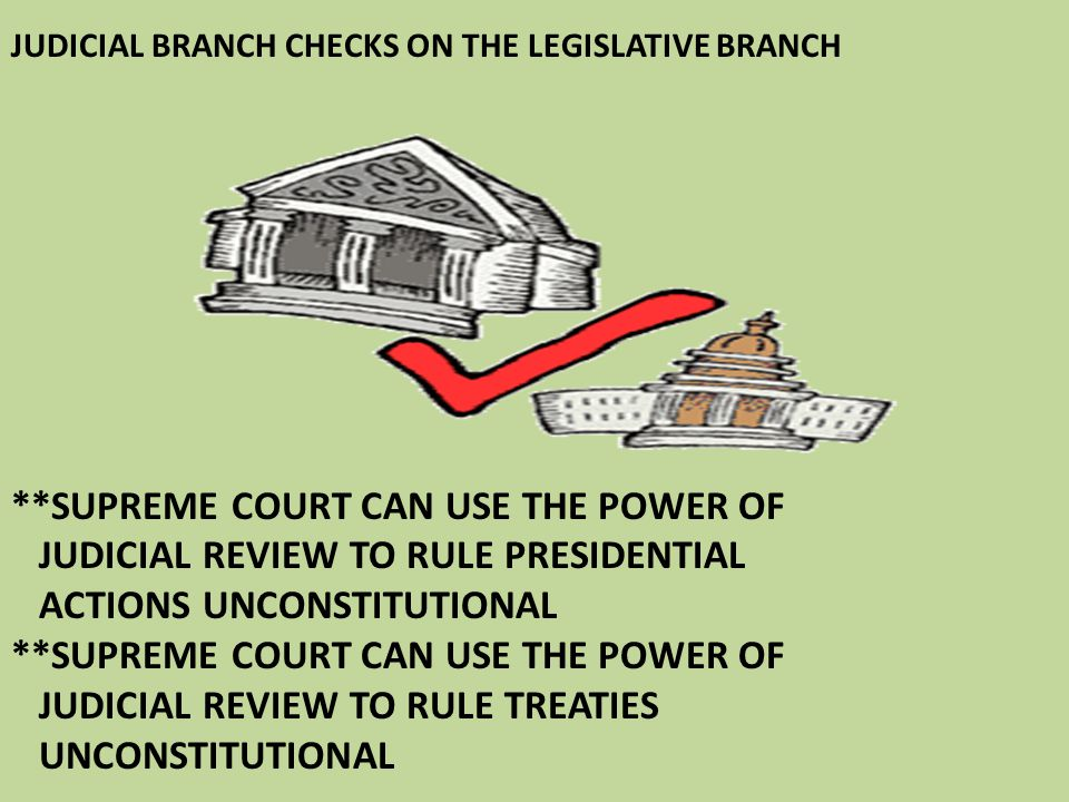 JUDICIAL BRANCH CHECKS ON THE LEGISLATIVE BRANCH