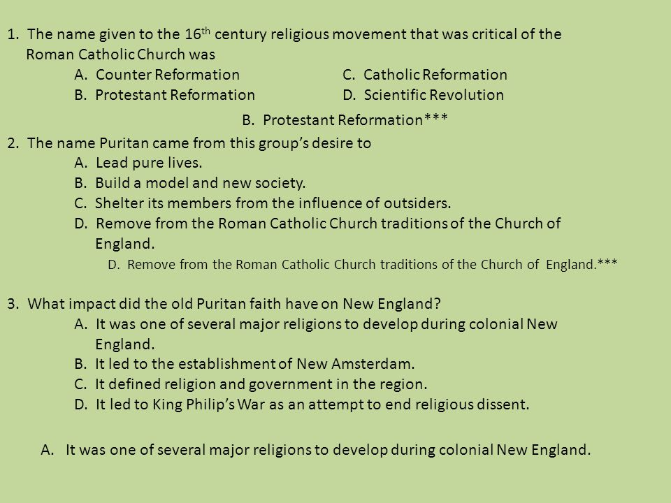 B. Protestant Reformation***