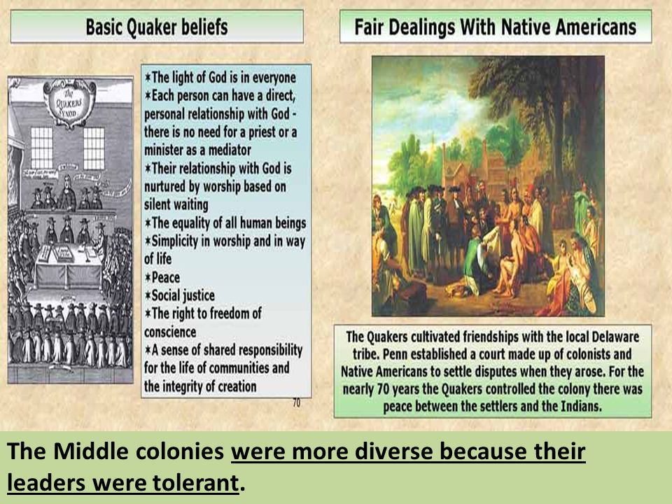 The Middle colonies were more diverse because their leaders were tolerant.