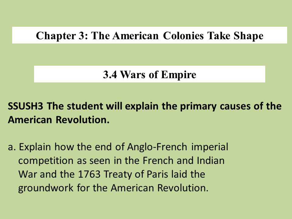 Chapter 3: The American Colonies Take Shape