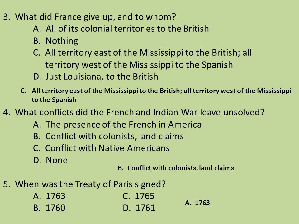3. What did France give up, and to whom. A