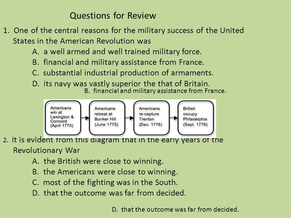 Questions for Review 1. One of the central reasons for the military success of the United States in the American Revolution was A. a well armed and well trained military force. B. financial and military assistance from France. C. substantial industrial production of armaments. D. its navy was vastly superior the that of Britain. 2. It is evident from this diagram that in the early years of the Revolutionary War A. the British were close to winning. B. the Americans were close to winning. C. most of the fighting was in the South. D. that the outcome was far from decided.
