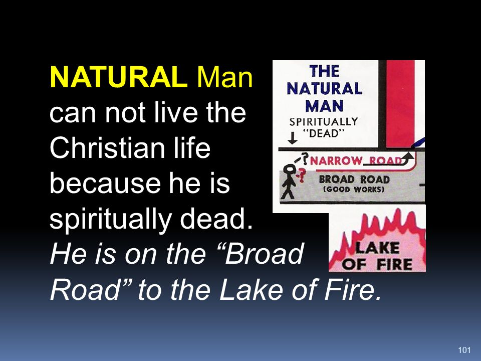 NATURAL Man can not live the Christian life because he is spiritually dead.
