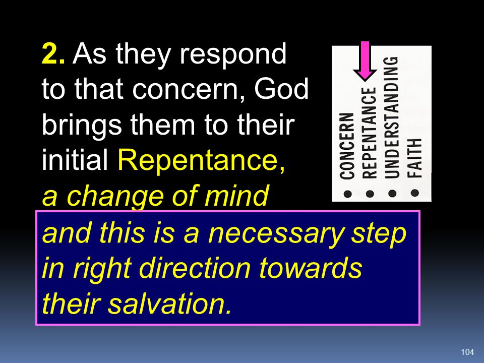 2. As they respond to that concern, God brings them to their initial Repentance, a change of mind
