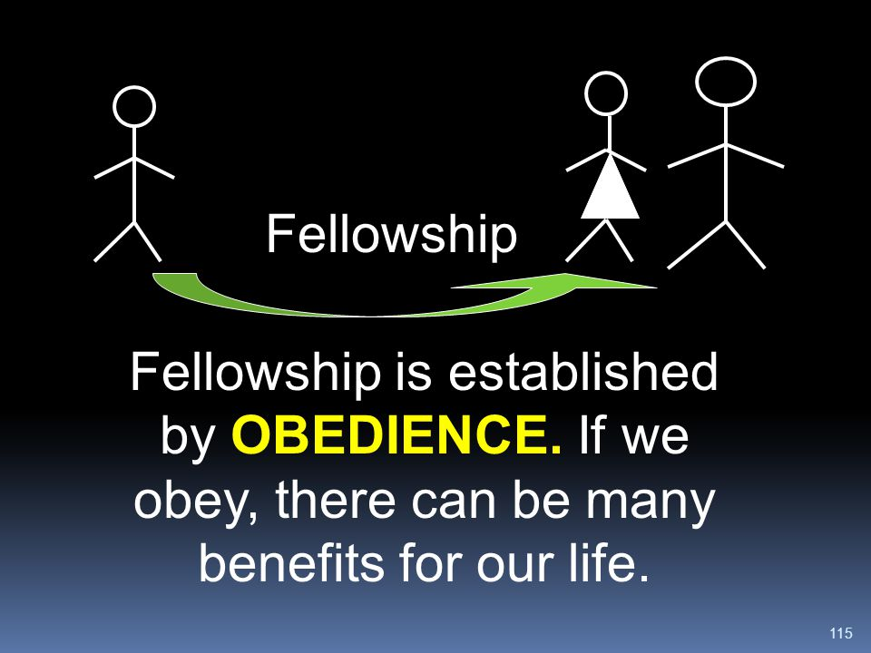 Fellowship Fellowship is established by OBEDIENCE.