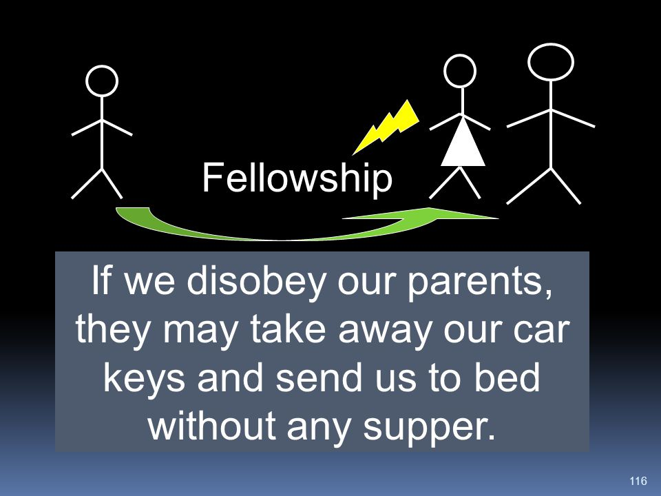 Fellowship If we disobey our parents, they may take away our car keys and send us to bed without any supper.