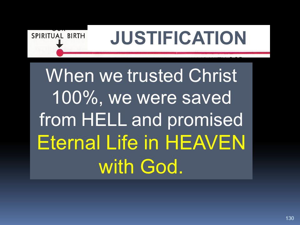 JUSTIFICATION is our salvation from the PENALTY of sin.