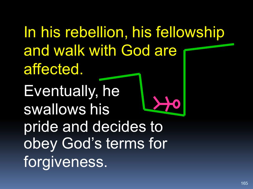 In his rebellion, his fellowship and walk with God are affected.