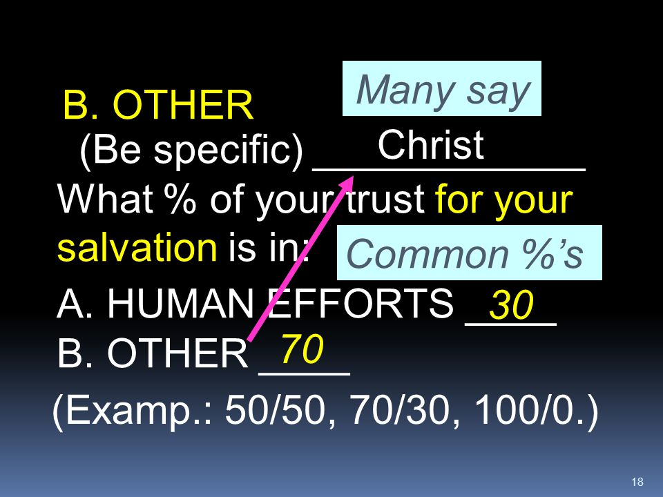 Many say B. OTHER. (Be specific) ____________. Christ. What % of your trust for your salvation is in: