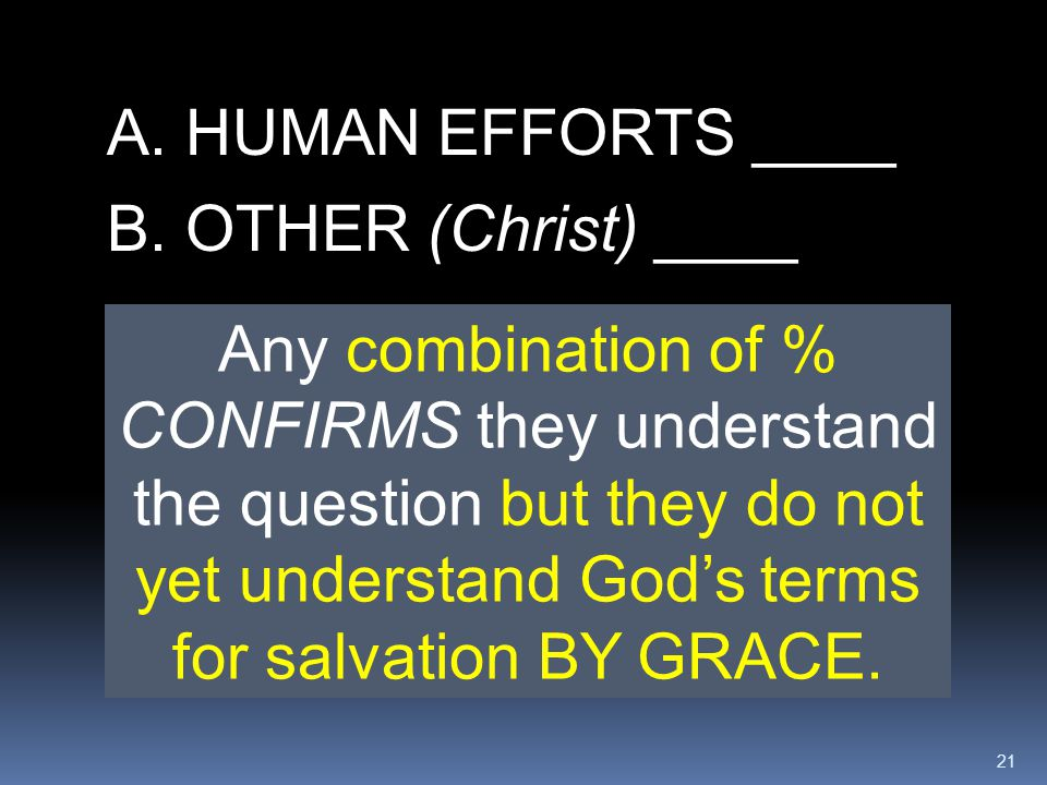 A. HUMAN EFFORTS ____ B. OTHER (Christ) ____.