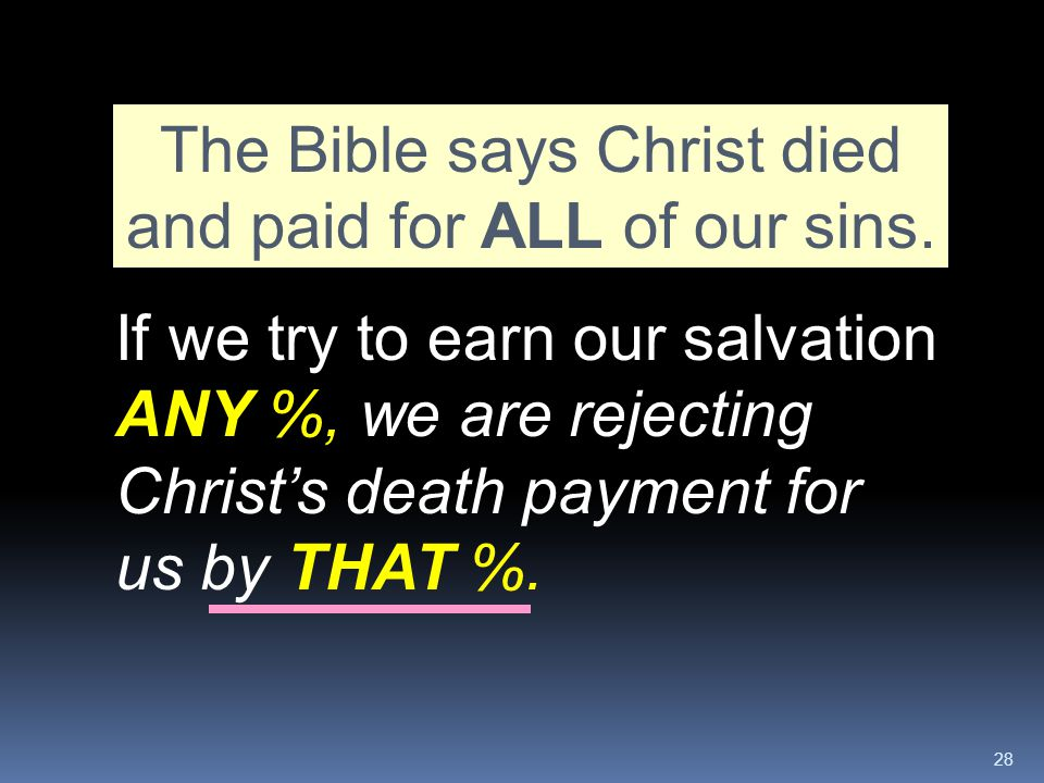 The Bible says Christ died and paid for ALL of our sins.