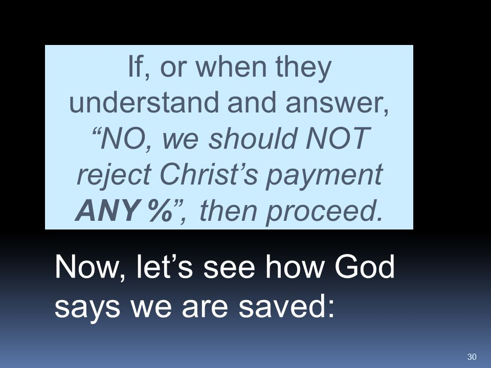 Now, let's see how God says we are saved: