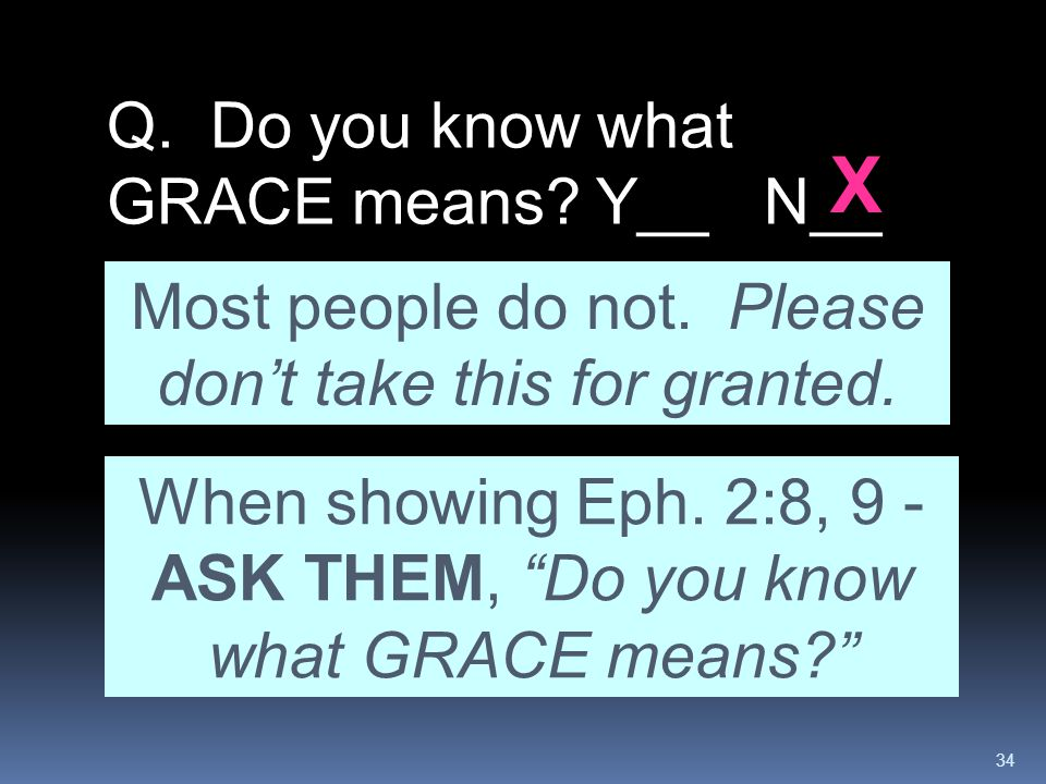 X Q. Do you know what GRACE means Y__ N__
