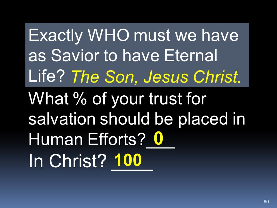 Exactly WHO must we have as Savior to have Eternal Life