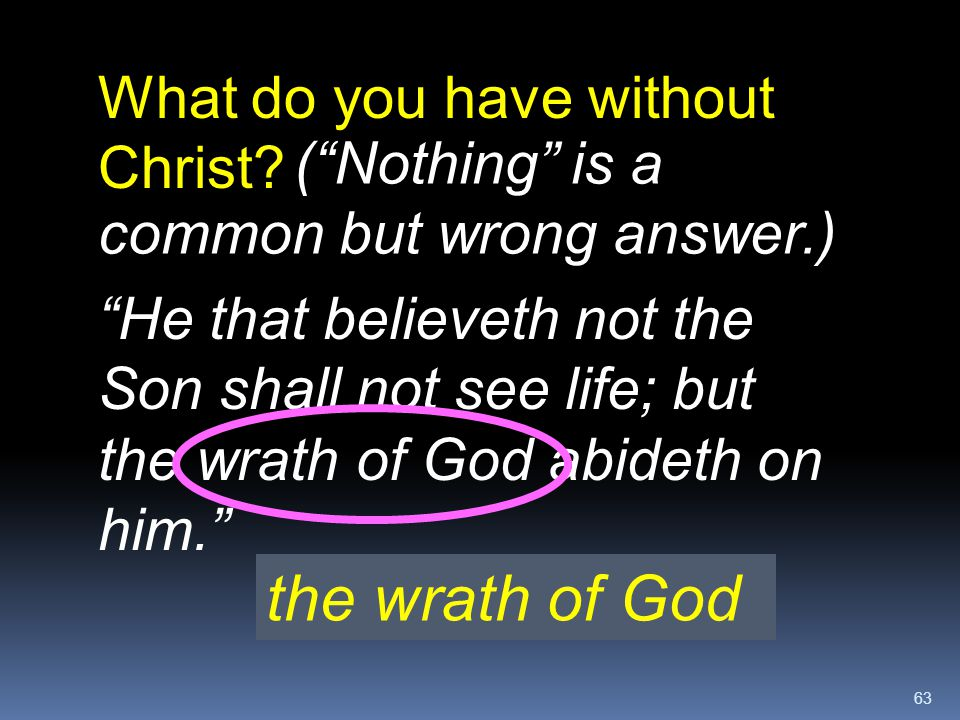 the wrath of God What do you have without Christ