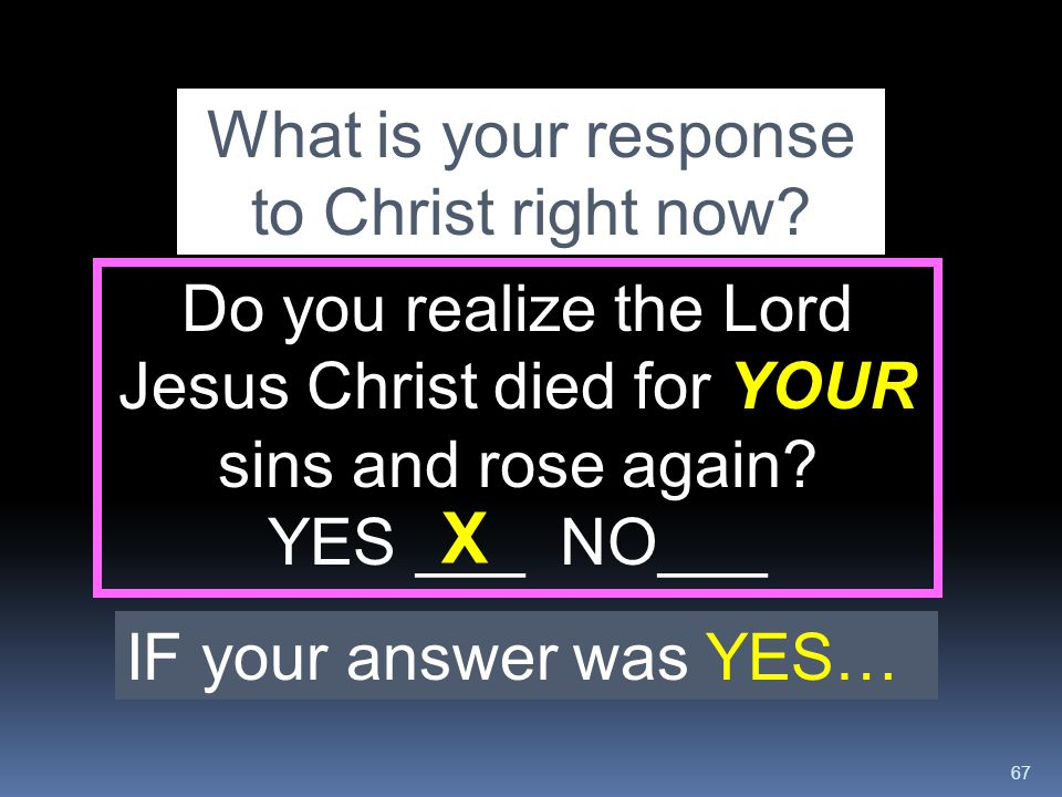 What is your response to Christ right now
