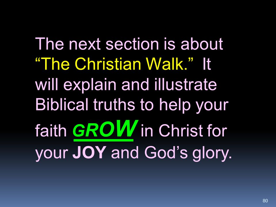 The next section is about The Christian Walk
