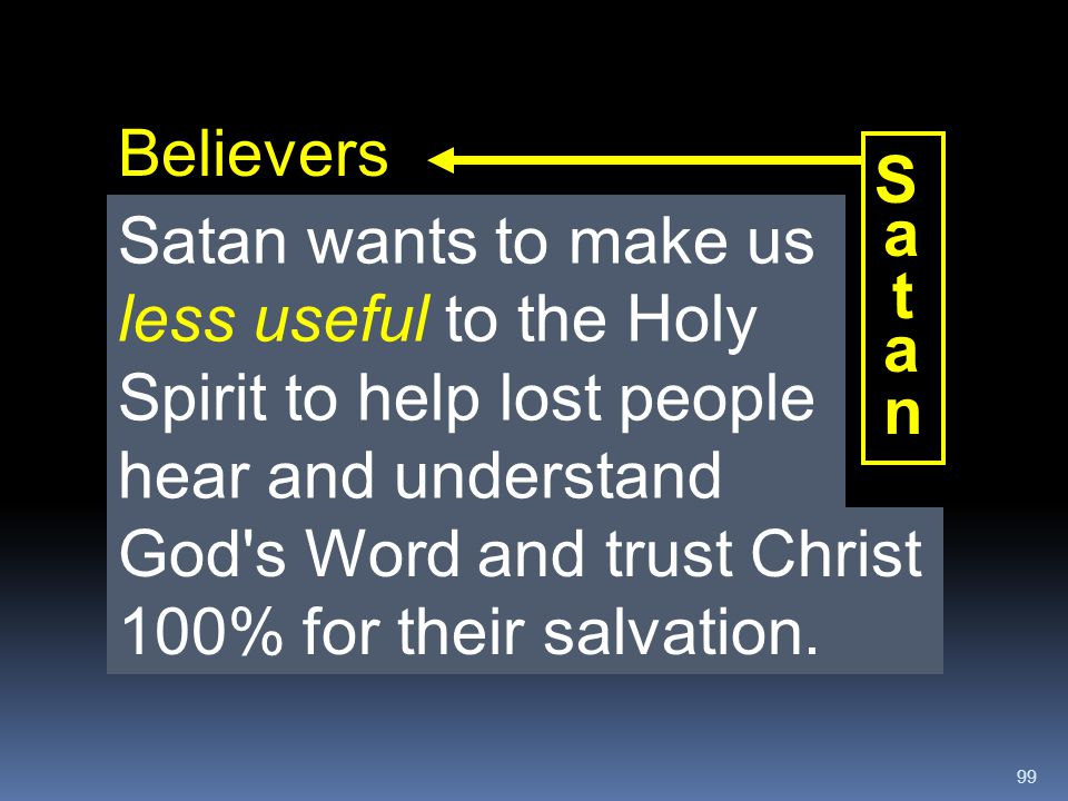 Believers S. a. t. n. Satan wants to make us less useful to the Holy Spirit to help lost people hear and understand.