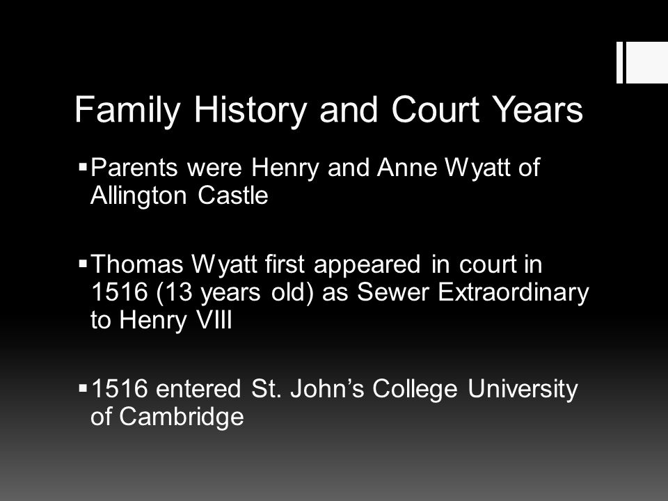 Family History and Court Years