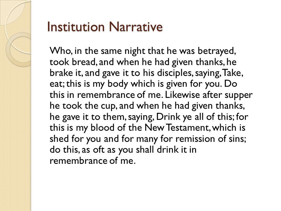 Institution Narrative