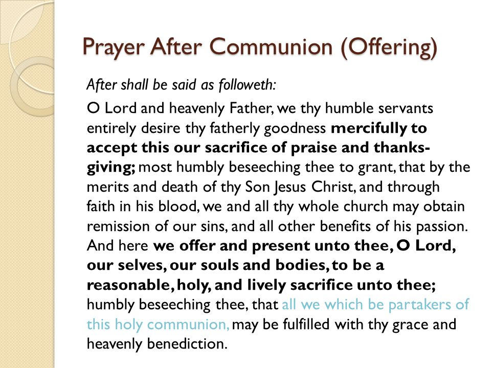 Prayer After Communion (Offering)