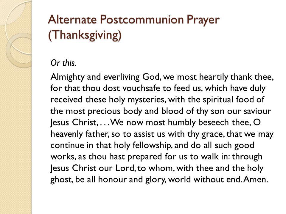 Alternate Postcommunion Prayer (Thanksgiving)