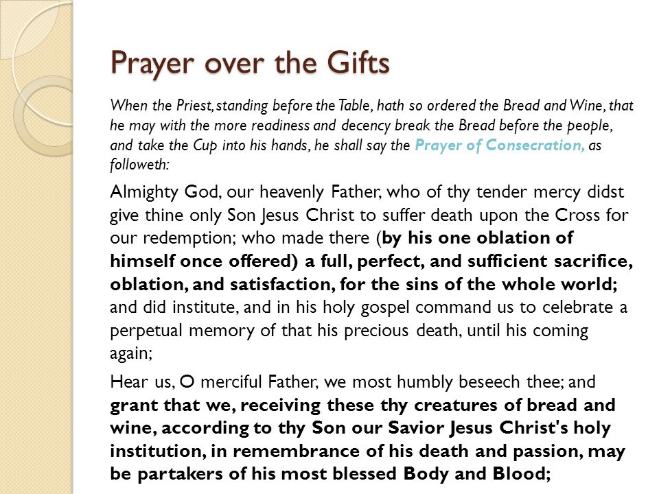 Prayer over the Gifts