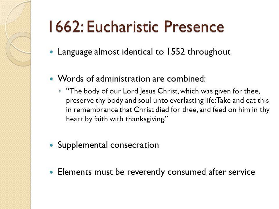 1662: Eucharistic Presence